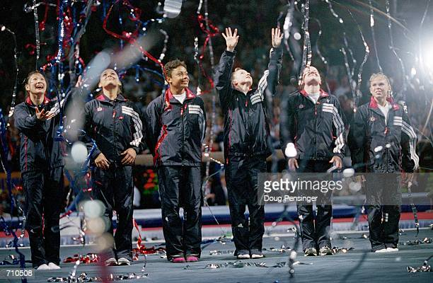 From Amy Chow Elise Ray Dominique Dawes Kristen Maloney Jamies Dantzscher and Morgan White celebrate as they are named the USA Women's Gymnastics...