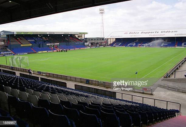 General view of the stadium before the Nationwide League Division Two match between Oldham Athletic and Port Vale at Boundary Park in Oldham England...