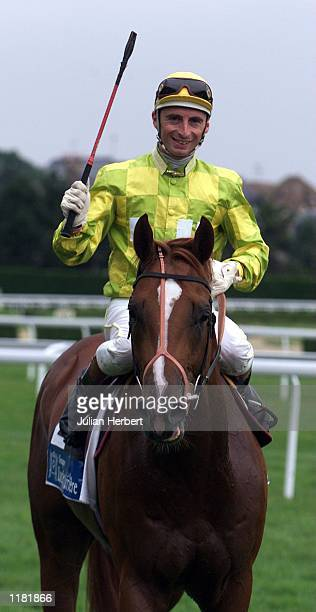 Gerald Mosse shows his delight after Bad As I Wanna Be came home at Deauville to land an easy victory in The Prix Morny Casinos Barriere run over...