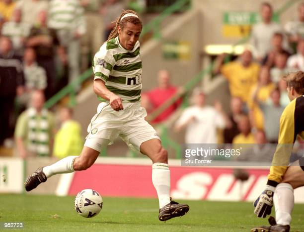 Henrik Larsson of Celtic in action during the Scottish Premier League match against Rangers at Celtic Park in Glasgow Scotland Celtic won the game 6...