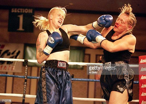 Karrie Frye lands a punch during a fight against Maria Johansson at the Regent Hotel in Las Vegas Nevada Frye defeated Johansson by a decison in the...