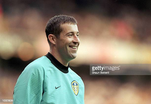 Nigel Martyn of Leeds United smiles during the European Champions League Qualifying Round First Leg match against TSV 1860 Munich at Elland Road in...
