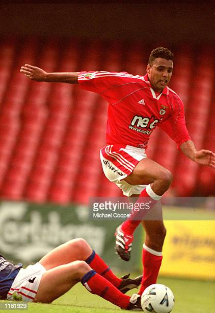 Pierre Van Hooijdonk of Benfica in action during the Preseason Friendly Carlsberg Belfast Challenge match against Linfield at Windsor Park in Belfast...