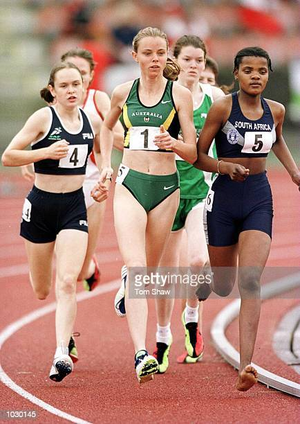 Shamon Hill of Australia in action on her way to winning gold in the womens 1500m during the World Youth Commonwealth Games at Meadowbank Stadium...