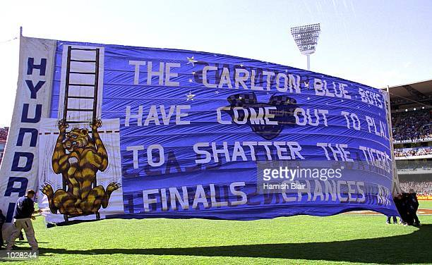 The Carlton banner before the match between the Carlton Blues and the Richmond Tigers during round 22 of the AFL season played at the Melbourne...