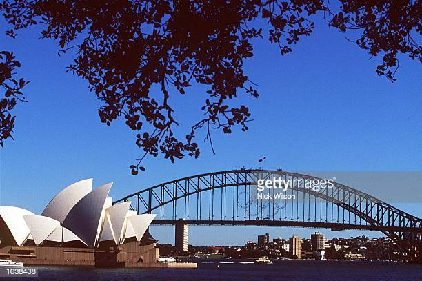 The Olympic Rings on the Harbour Bridge look out over Sydney Harbour and The Sydney Opera House as the city prepares for the Olympic Games in Sydney...