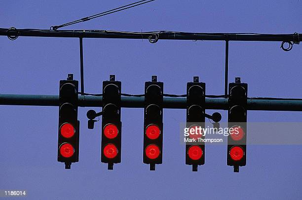 The start lights at the Hungarian Formula One Grand Prix at the Hungaroring in Budapest Hungary Mandatory Credit Mark Thompson /Allsport