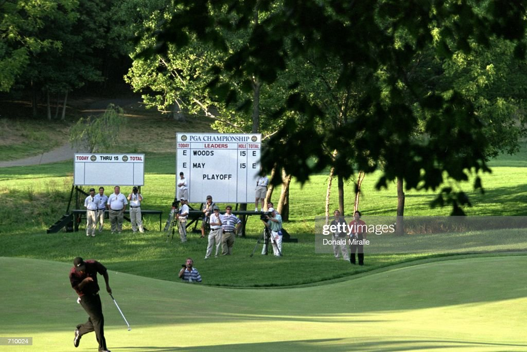 Tiger Woods celebrates after his putt during the PGA Championship part of the PGA Tour at the Valhalla Golf Club in Louisville KentuckyMandatory...
