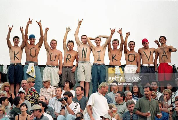 Young Male fans of Anna Kournikova paint her name on their chests they cheer from the stands during the Acura Classic part of the WTA Tour at the La...