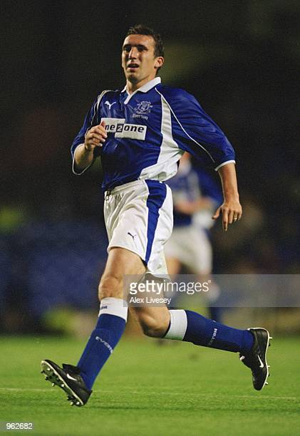 Alan Stubbs of Everton in action during the Alex Young Testimonial match against Espanyol played at Goodison Park in Liverpool England Everton won...