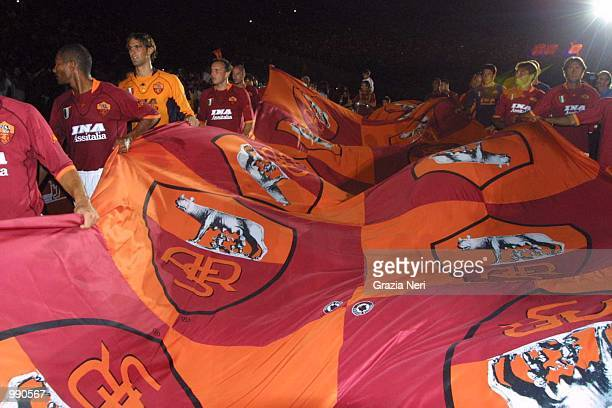 AS Roma players celebrate their league title with their fans during the preseason friendly between AS Roma and Boca Juniors AS Roma won the match 31...