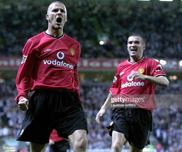 David Beckham of Man Utd celebrates after scoring the second goal during the Blackburn Rovers v Manchester United FA Barclaycard Premiership match at...
