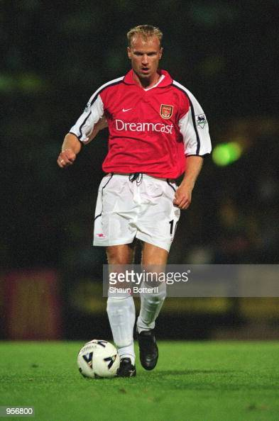 Dennis Bergkamp of Arsenal in action during the preseason friendly match against Norwich City played at Carrow Road in Norwich England Arsenal won...