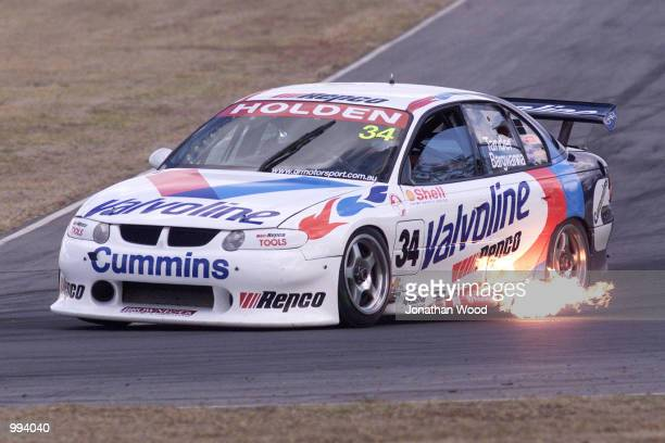 Jason Bargwanna in the Valvoline Cummins Holden Commodore navigates a turn during the Queensland 500 V8 Supercar practice held at the Queensland...