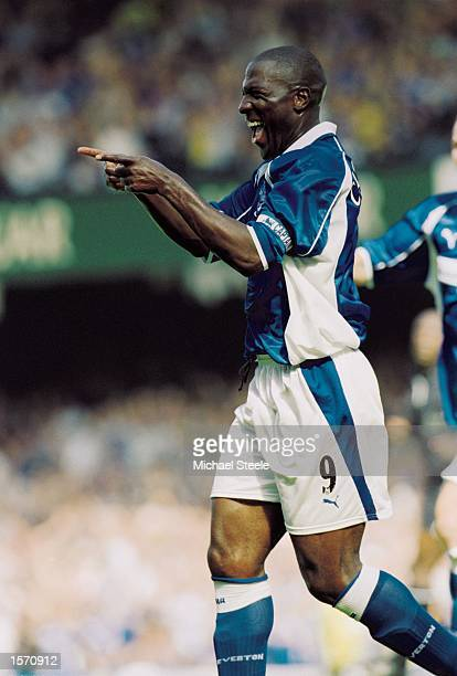 Kevin Campbell of Everton celebrates scoring a goal during the FA Barclaycard Premiership match against Middlesbrough played at Goodison Park in...