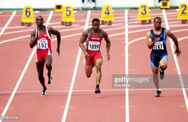 LR Donovan Bailey of Canada Ato Boldon of Trinidad Tobago and Maurice Greene of the USA in the mens 100m quarter final during the second day of the...