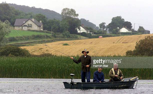 Matthew Hayden and Wade Seccombe of Australia enjoy some fishing in a lake outside Belfast Ireland DIGITAL IMAGE Mandatory Credit Hamish...