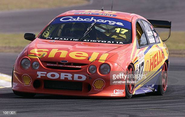 Paul Radisich of the Shell Helix Racing Team leads the field during the Queensland 500 at the Queensland Raceway in Ipswich Australia The Shell Helix...