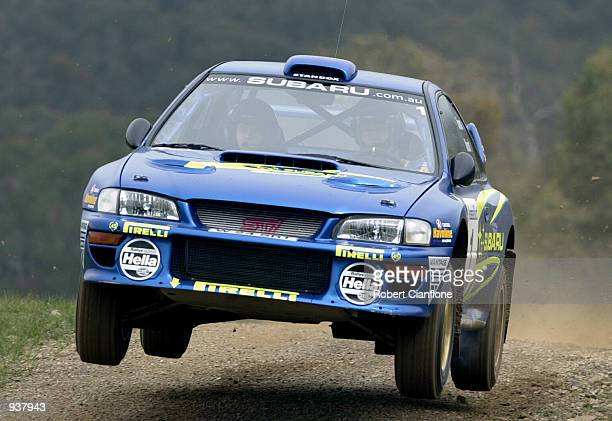 Possum Bourne takes his Subaru Impreza through the 'shakedown' stage at the De Bortoli Winery in preperation for the 2001 Rally of Melbourne Yarra...