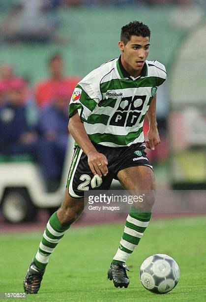 Quaresma of Sporting Lisbon runs with the ball during the Portuguese League match against FC Porto played at the Estadio das Antas in Porto Portugal...