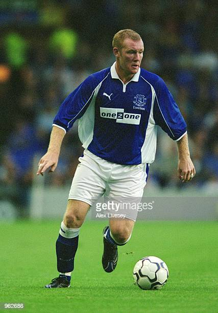 Steve Watson of Everton in action during the Alex Young Testimonial match against Espanyol played at Goodison Park in Liverpool England Everton won...