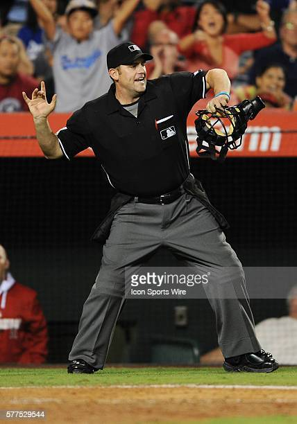 Home plate umpire Brain Knight tosses Los Angeles Dodgers Matt Kemp out of a game against the Los Angeles Angels of Anaheim played at Angel Stadium...