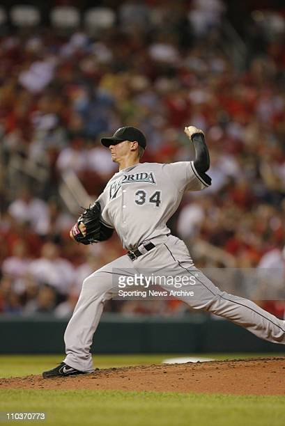Aug 22 2007 St Louis MO USA The Florida Marlins starting pitcher SCOTT OLSEN against the St Louis Cardinals at Busch Stadium in St Louis MO on Aug 22...