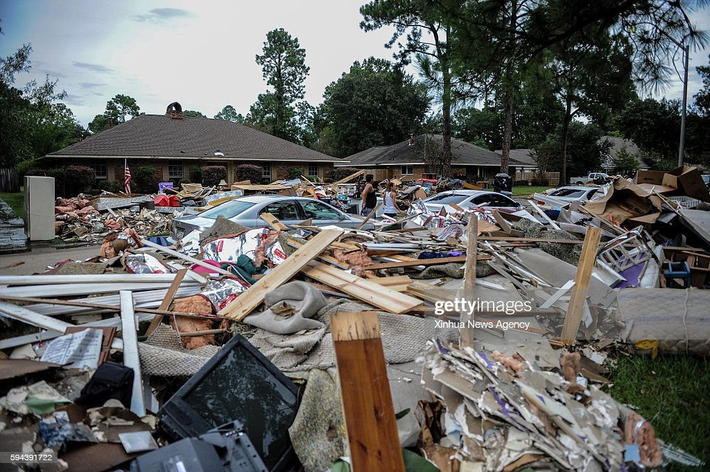 ROUGE Aug 22 2016 Photo taken on Aug 22 2016 shows piles of damaged belongings thrown by floodaffected families in Baton Rouge Louisiana Severe...
