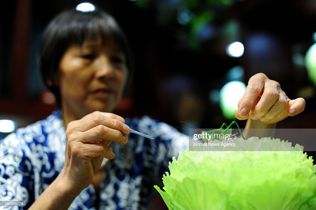 ZHENGZHOU Aug 23 2016 Qin silk craft artist Wang Shunjiao makes a silk Chinese cabbage and grasshoppers in Huaxian County central China's Henan...
