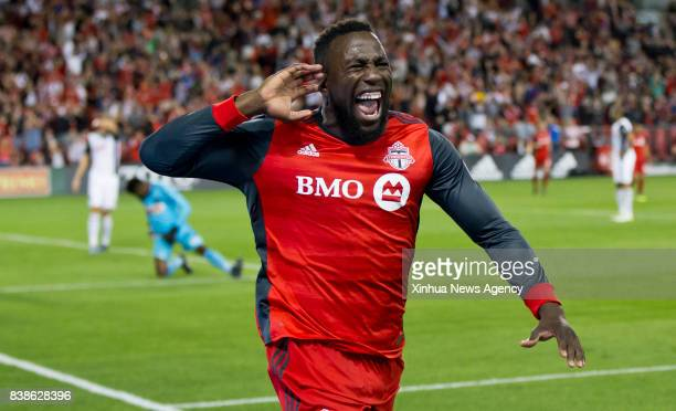 Jozy Altidore of Toronto FC celebrates scoring during the 2017 Major League Soccer match against Philadelphia Union at BMO Field in Toronto Canada...