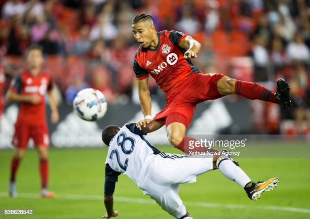 Justin Morrow of Toronto FC vies with Raymon Gaddis of Philadelphia Union during the 2017 Major League Soccer match at BMO Field in Toronto Canada...