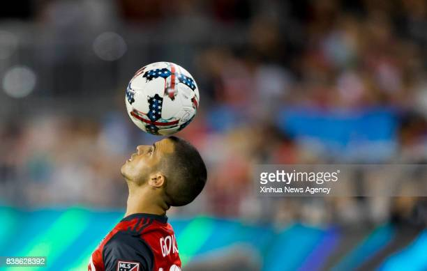 Sebastian Giovinco of Toronto FC competes during the 2017 Major League Soccer match against Philadelphia Union at BMO Field in Toronto Canada Aug 23...
