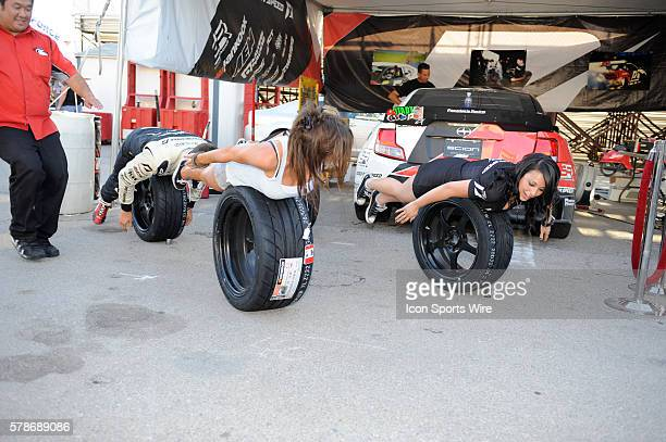 Planking in the fan area during Formula Drift at the Las Vegas Motor Speedway in Las Vegas NV