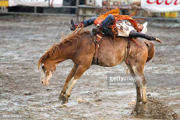 Clayton Jon Billow battled wind and rain in route to scoring a 71 on the horse Joker Poker during the Bareback Riding competition at the Kitsap...