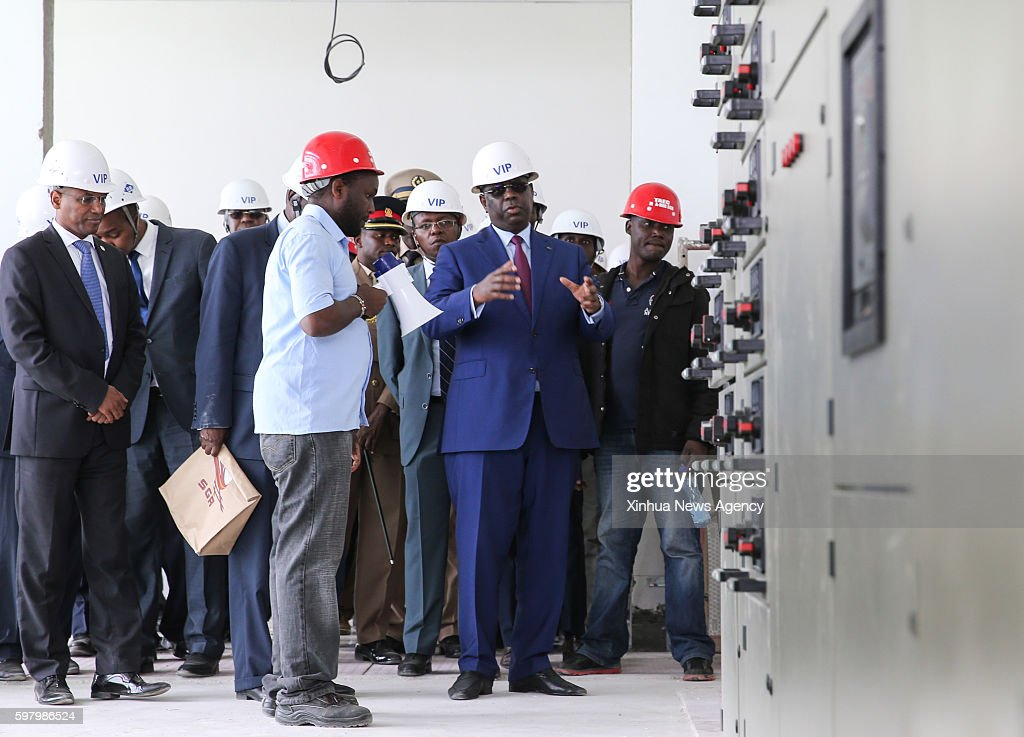 NAIROBI Aug 29 2016 Senegalese President Macky Sall second right visits a construction site of Standard Gauge Railway in Nairobi Kenya on Aug 29 2016...