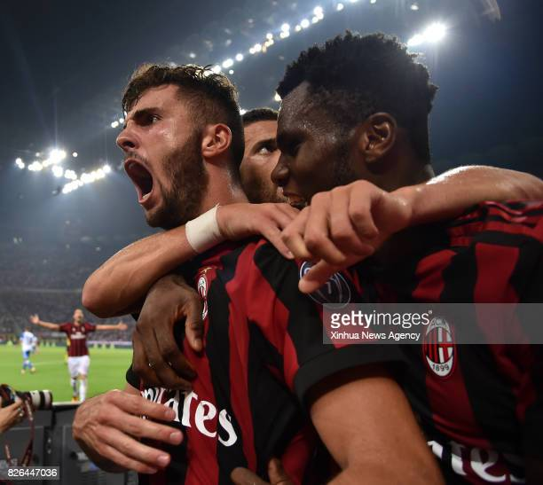 MILAN Aug 3 2017 AC Milan's Patrik Cutrone celebrates after scoring during the Europa League third qualifying round second leg soccer match against U...