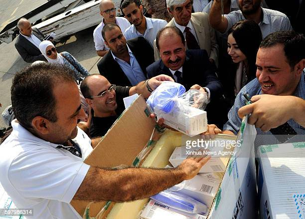 DAMASCUS Aug 30 2016 Medical shipments from Cuba are unloaded at an airport in Damascus capital of Syria on Aug 29 2016 The twoton medical shipments...