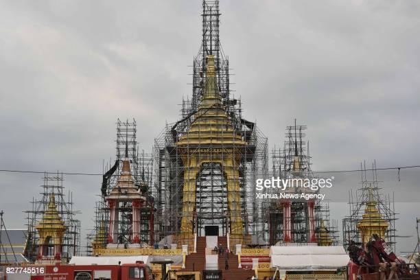 BANGKOK Aug 8 2017 Photo taken on Aug 8 2017 shows the construction site of the crematorium for the late King Bhumibol Adulyadej in Bangkok Thailand...