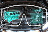 Augmented reality glasses technology and engineering marketing concept. AR Glasses with repair service application and 3d rendering of energy block 360 degrees with blur car engine room background