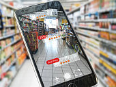 Augmented reality marketing application concept.  Mobile smart phone check relevant information about product in the supermarket. 3d illustration All textures were created me in Adobe illustrator. Pho