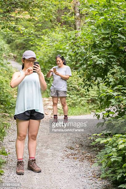 Augmented Reality Mobile Game, Woman, Teenaged  Hikers Playing in Forest