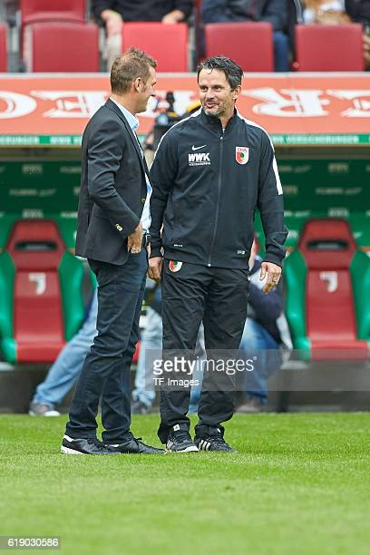 Augsburg Deutschland 1 Bundesliga 7 Spieltag FC Augsburg FC Schalke 04 Trainer Markus Weinzierl und Trainer Dirk Schuster vl vor dem Spiel