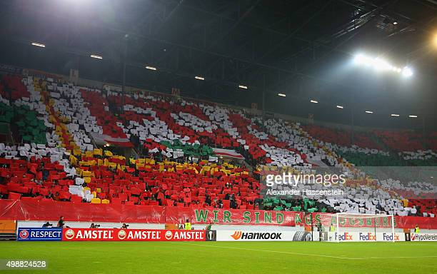 Augsburg fans welcome their team prior to the UEFA Europa League Group L match between FC Augsburg and Athletic Club at WWKArena on November 26 2015...