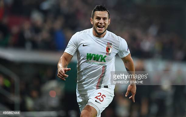 Augsburg's Argentinian striker Raul Bobadilla celebrates after the first goal during the UEFA Europe League football match between FC Augsburg and AZ...