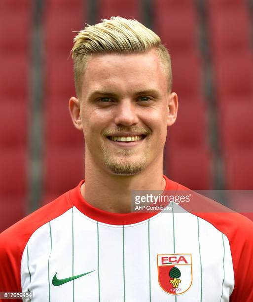 Augsburg's defender Philipp Max poses during a team presentation of the German first division Bundesliga football team FC Augsburg in Augsburg...