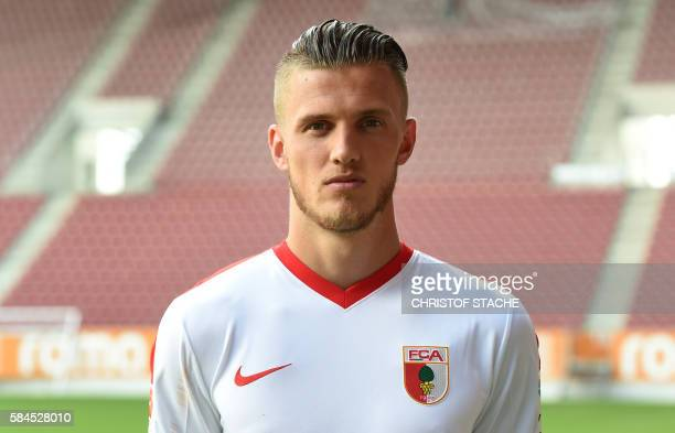 Augsburg's Dutch defender Jeffrey Gouweleeuw poses during a team presentation of the German first division Bundesliga team FC Augsburg 1907 in...