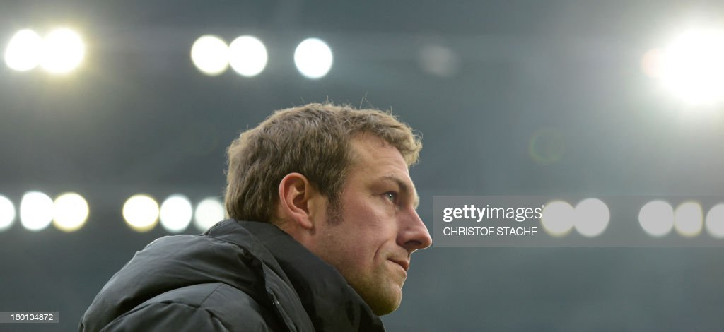 Augsburg's headcoach Markus Weinzierl is pictured prior to the German first division Bundesliga football match FC Augsburg vs FC Schalke 04 in Augsburg, southern Germany, on January 26, 2013.