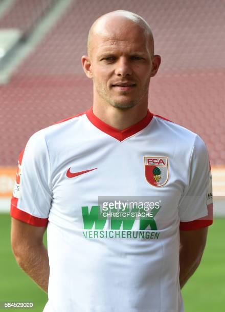 Augsburg's midfielder Tobias Werner poses during a team presentation of the German first division Bundesliga team FC Augsburg 1907 in Augsburg...
