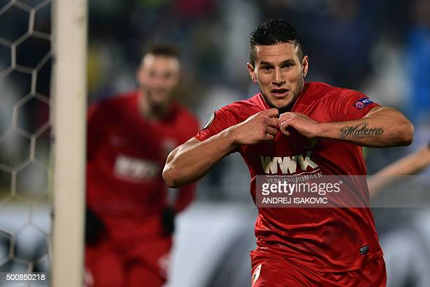 Augsburg's Raul Bobadilla celebrates after scoring during the UEFA Europa League football match between FK Partizan and FC Augsburg at FK Partizan...