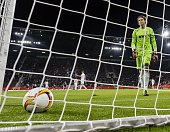 Augsburg's Swiss keeper Marwin Hitz reacts after the first goal during the UEFA Europa League firstleg Group L football match FC Augsburg v FK...